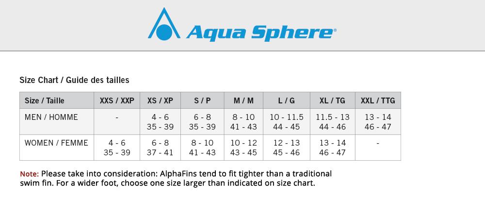 AquaSphere-SizeChart