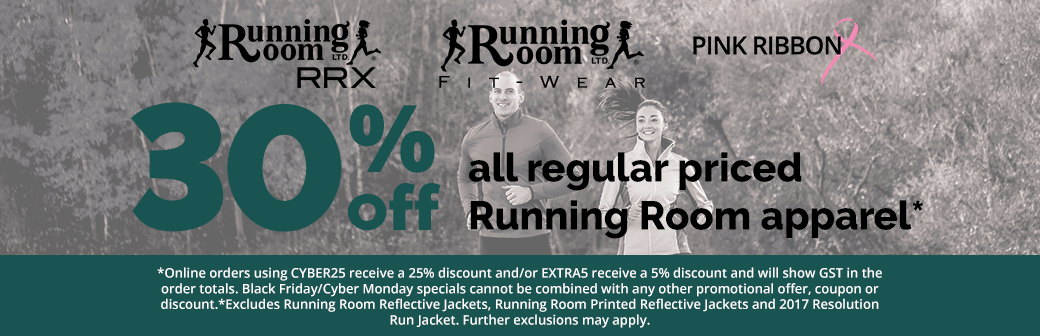 30% Off all regular Priced Running Room Apparel
